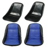 Low Back Seat Shells, Impact Plastic With Blue Covers Pair