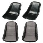 Low Back Seat Shells, Impact Plastic With Grey Covers Pair